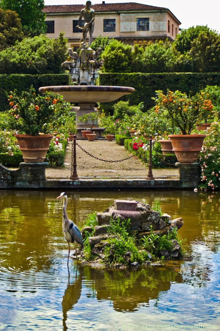 Jardin de Boboli - Héron + Statue